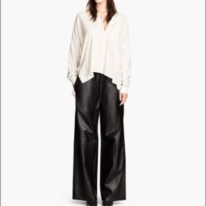 H&M wide leg black leather high waist pants Kylie for sale